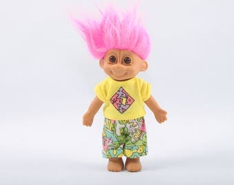 Totally Rad 90s Troll, Pink Hair, Dressed, Vintage Collectible, Norfin, Russ, Dam ~ The Pink Room ~ CC004