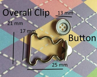 30 sets Overall Buckles with Sew-in Buttons - 17 mm width in Nickel Finish