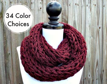 Chunky Knit Scarf Thick Red Claret Cowl Scarf, Womens Knit Circle Scarf, Chunky Polar Infinity Cowl - Knit Accessories - 34 Color Choices