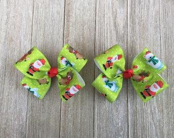 Hair Bows,Christmas Hair Bows,Santa Bows,Reindeer Bows,French Barrette Bows,4-4.5 Inch Wide Hair Bows,Pigtail Hair Bows