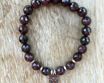 New - Luxe Garnet Bracelet and Floating Lotus Charm