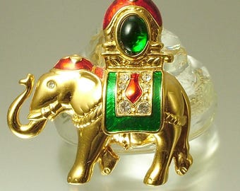 Vintage 1980s gold plated, enamel and rhinestone / diamante, paste elephant, novelty costume pin brooch - jewellery jewelry