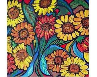Sunflowers  Fun Colorful  Whimsical Folk Art Ceramic Tile
