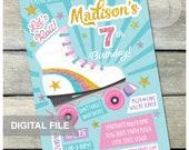"Roller Skate Birthday Party Invitation Skating Rink Skates - Glitter Rainbow - Retro Style - DIGITAL Printable Invite - 5"" x 7"""