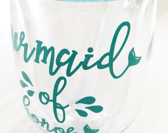 Stemless Acrylic Wine Tumbler - Bev2go - Tumblers with Lid and Straw - Mermaid Tumbler - Bridal Party Gift - Bridesmaid Proposal Gift