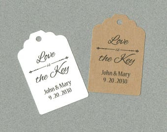 Wedding Tag, Love is the Key Tag, Set of 50, Tags, Wedding Favor, Bridal Shower Tag, Event Tag