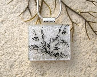 Cat Jewelry, Handmade White Black Necklace, Dichroic Necklace, Dichroic Jewelry, Fused Glass Jewelry, Cat Jewelry, ccvalenzo, 010618p100