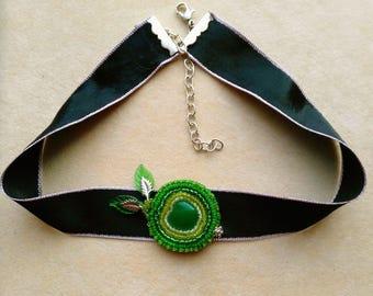 Beadwoven Beaded Green Apple Choker Necklace . Embroidered Green Apple Pendant . Granny Smith Beadwork- Black Silk Choker by enchantedbeads