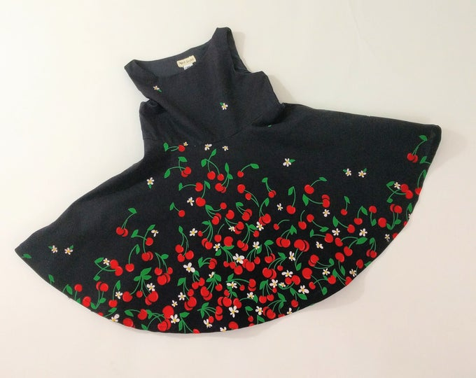 Girls Dress, Toddler Dress, Girls Dresses, Cherry Bomb Rockabilly Dress, Cherry Dress, Twirl Dress, Circle Skirt Dress, Size 12-18 M - 5