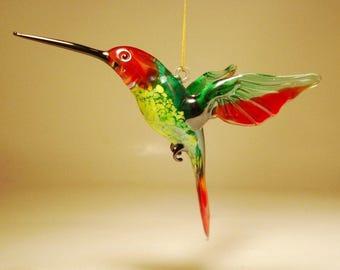 Handmade Blown Glass Figurine Art Bird Red and Green Hanging HUMMINGBIRD Ornament