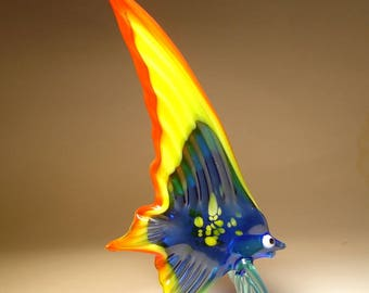 Handmade Blown Glass Art Figurine Yellow, Red and Blue Sail  Fish