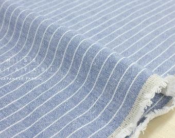 Japanese Fabric - yarn dyed stripes - chambray blue, white - 50cm