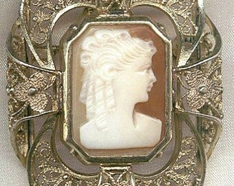 Vintage Gold Vermeil Shell Cameo Pin-Pendant