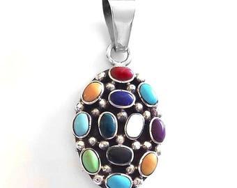 Sterling Silver Multi-Gemstone Pendant
