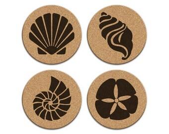 SEASHELLS SAND DOLLAR Nautical Coastal Cork Coaster Set Of 4 Home Decor Barware Decoration