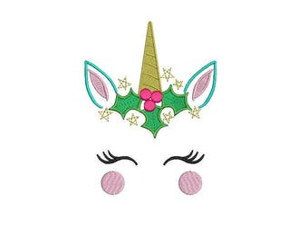 Machine Embroidery Xmas Unicorn Face Flowers Machine Embroidery File design 5x7 inch hoop