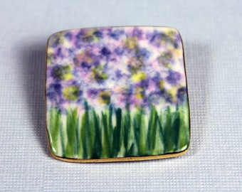 Purple Monet Flower Pin Handmade Porcelain Jewelry