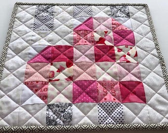 Pink and White Valentine's Topper, Mini Quilt, Mug Rug, Candle Mat