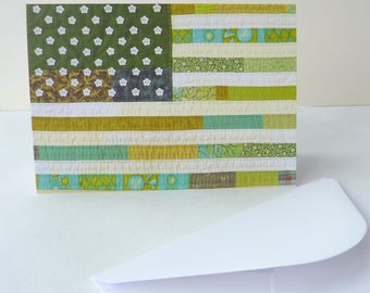 """Printed Art Card - """"Green America"""" Stars and Stripes Patchwork Flag Image Detail - Greetings Card"""