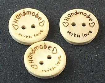 HANDMADE with LOVE Wood Wooden Small Plain Button Buttons  E1