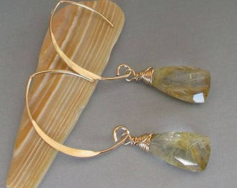 Gold Rutilated Quartz 14kt Gold Filled Earrings