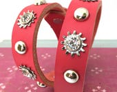 Hot Pink Leather Dog Collar with Rhinestone Industrial Flowers and Silver Studs, Size M, to fit a 14-17 Neck, Medium Dog, Seattle Handmade