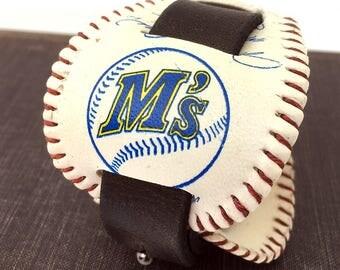 Seattle Mariners Baseball Leather Cuff Bracelet Wristband Reclaimed Leather Unisex Sports Fan Adjustable Seattle Handmade OOAK