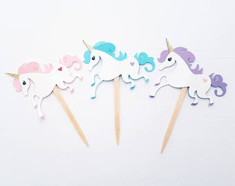 Unicorn Cupcake Toppers, Cupcake Picks, Unicorn Party