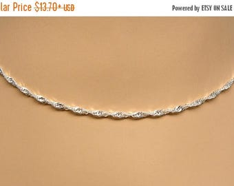 SALE Sterling Silver Necklace Chain Singapore Twist 16, 18, 20, 24 or 30 Inches 2.4mm Style 221
