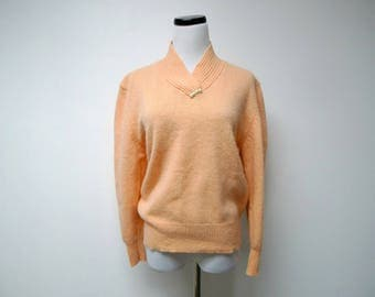 Sellecca . 80s orange lambswool angora blend sweater  . large