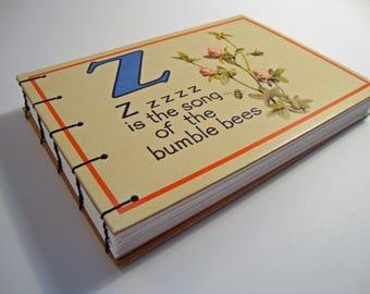 Repurposed Blank Book- OOAK - Upcycled Vintage Flashcards - Coptic Sewn Blank Book
