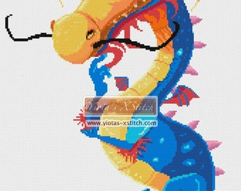Cute dragon - fantasy counted cross stitch kit, baby dragon cross stitch