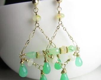 SUMMER SALE Chrysoprase and Ethioopian Opal Golden Chandelier Earrings