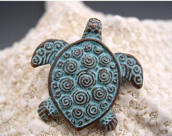SALE Naos - Sea Turtle Pendant - Mykonos Greek Copper Antiqued Green Turquoise - Double Sided with Spirals