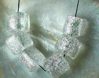lampwork/dichroic/sra lampwork/beads/glass beads/artisan glass/crinkle/barrels/silver/
