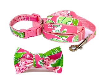 TABOO Dog Collar and/or Leash on Pink with Bow or Flower Option Made from Lilly Pulitzer Fabric Size: Your Choice