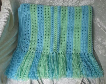 Blue and Green Fringed Hand Crocheted Baby Blanket/Afghan