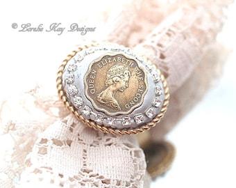 Queen Elizabeth II Coin Ring Genuine Coin Rhinestone Ring Lorelie Kay Original
