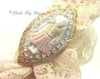 Perfect Frozen Charlotte Doll Ring Brass and Gold Plated Tiny Girl Doll Adjustable Ring Lorelie Kay Original