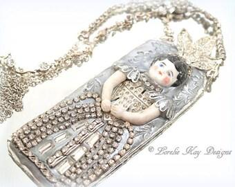 Queen Flora Necklace Or Ornament  Wearable Art Doll Pendant OOAK Statement Necklace Mixed Necklace Lorelie Kay Original