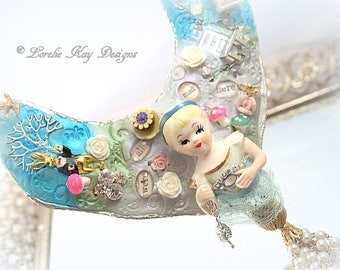 BIG Alice in Wonderland Statement Necklace Assemblage Soldered Sculpted Bib Necklace Pendant Whimsical Alice Lorelie Kay Original