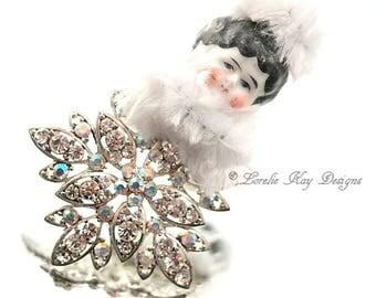 Snowflake Art Doll Ornament  Rhinestones Glitzy Christmas Tree Winter Ornament Hanging Art Doll Lorelie Kay Original