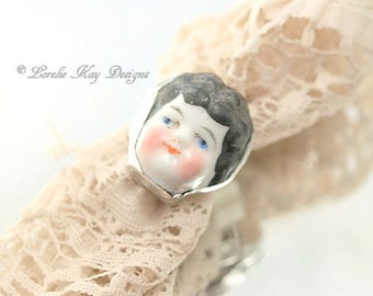 Frozen Charlotte Doll Face Ring China Doll Head Frozen Charlotte Ring Fine Silver Plated Lorelie Kay Designs Doll Jewelry