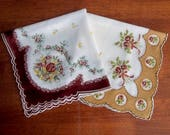 Pair Vintage Brown Tan and White Floral Handkerchiefs with Scalloped Hem