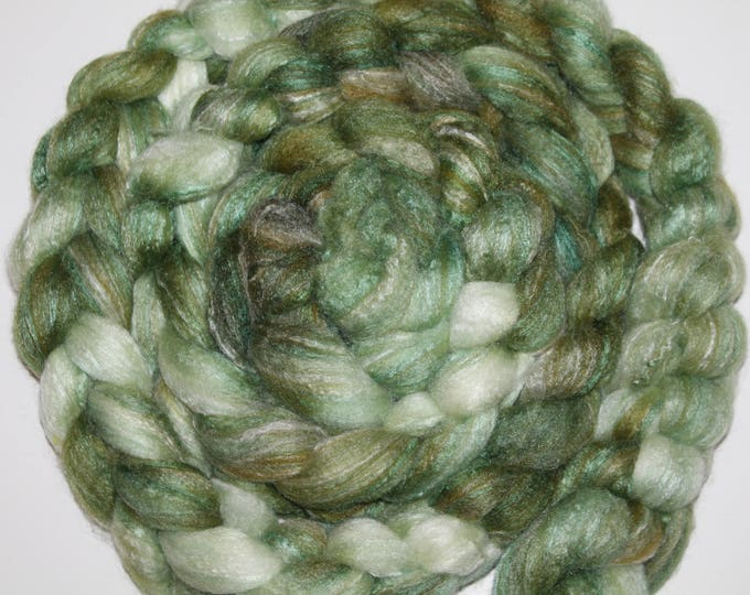 Kettle Dyed Merino /Bamboo/Silk top. Roving. Spin. Super Soft. Huge Braid. 1/2lb.