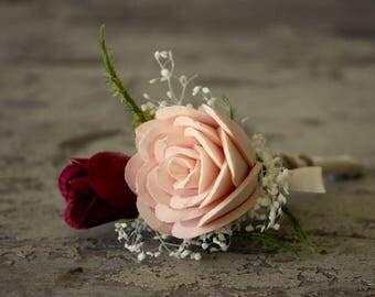 Blush pink boutonniere, Blush pink and marsala wedding flowers, wine sola flower boutonniere, grooms boutonniere, wooden flower, ecoflower,