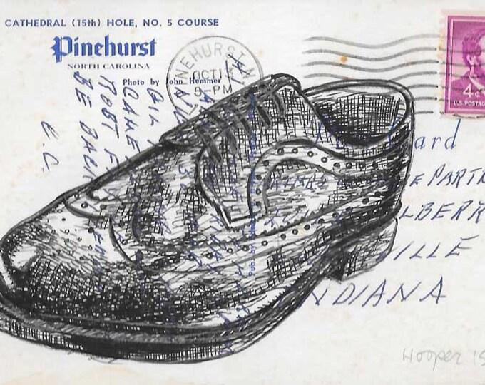 Wingtip Shoe - Original ink drawing on vintage post card by Mr. Hooper or Nashville, Tennessee
