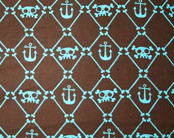 Pirates, anchors, skulls on brown cotton fabric 1 yard SALE