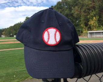 Baseball- Navy- Chenille Patch Dad Hat