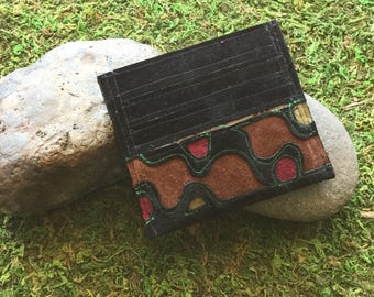Applique Card Wallet in Recycled Suede